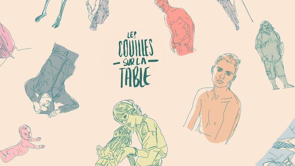 """Illustration pour le balado """"Les couilles sur la table"""" qui s'intéresse aux masculinités d'un point de vue féministe"""