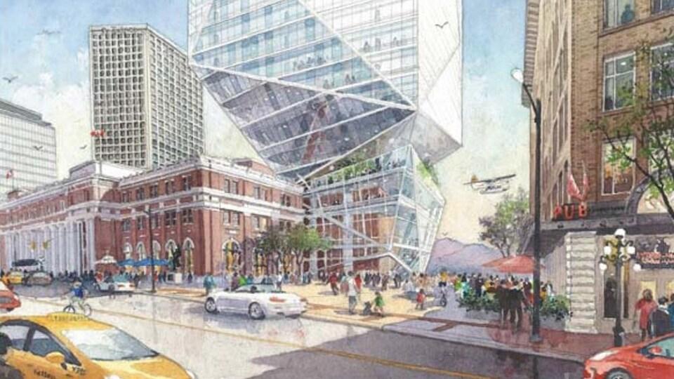 Projection architecturale de la tour de verre proposée.