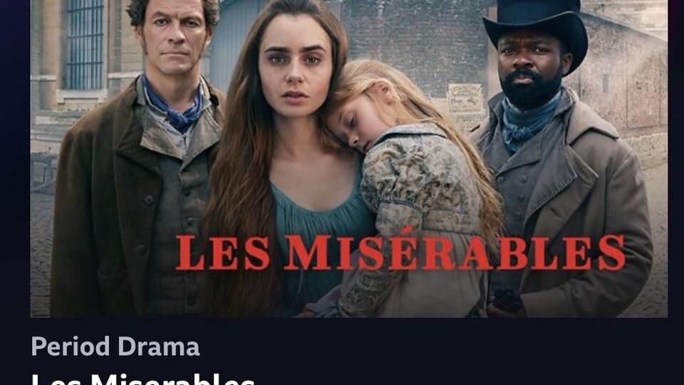 Une capture d'écran d'IPlayer de la BBC, dont la première page est l'affiche de la série Les Misérables.