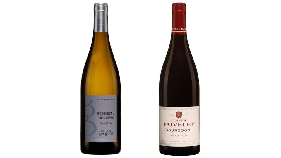 Deux bouteilles de vins blanc et rouge.
