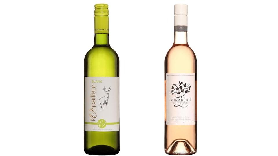 Une bouteille de vin blanc L'Orpailleur et une bouteille de vin rosé Mirabeau en Provence.