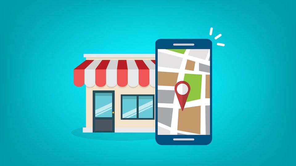 L'achat local illustré par la géolocalisation d'un téléphone intelligent devant la façade d'un magasin.