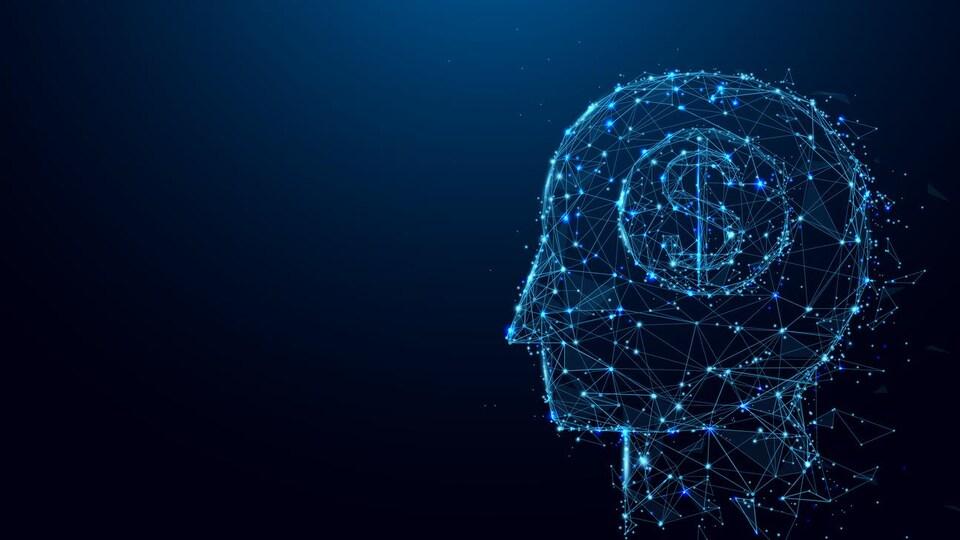 Illustration numérique d'une tête de profil avec un signe de dollar à la place du cerveau.