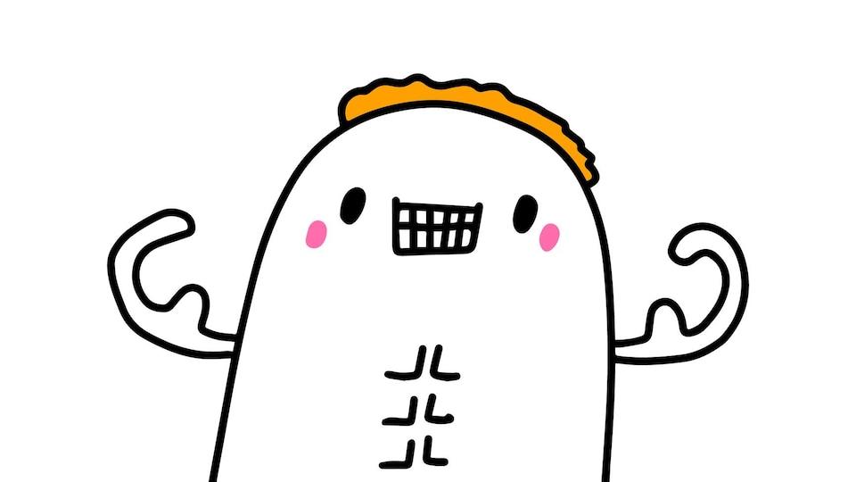 Illustration d'un personnage enfantin gonflant les muscles et bombant le torse.