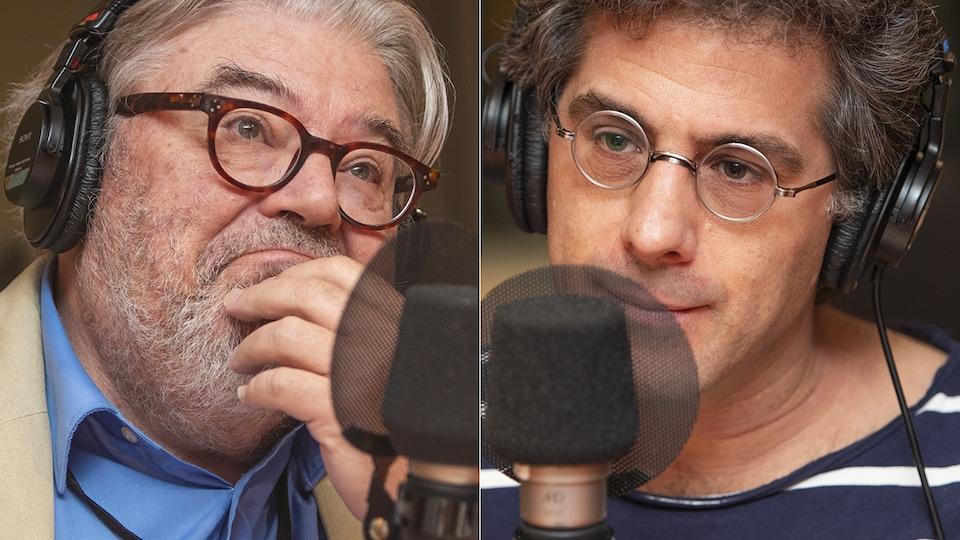 Donald Cuccioletta et Jean-Philippe Warren au micro de Stéphan Bureau.
