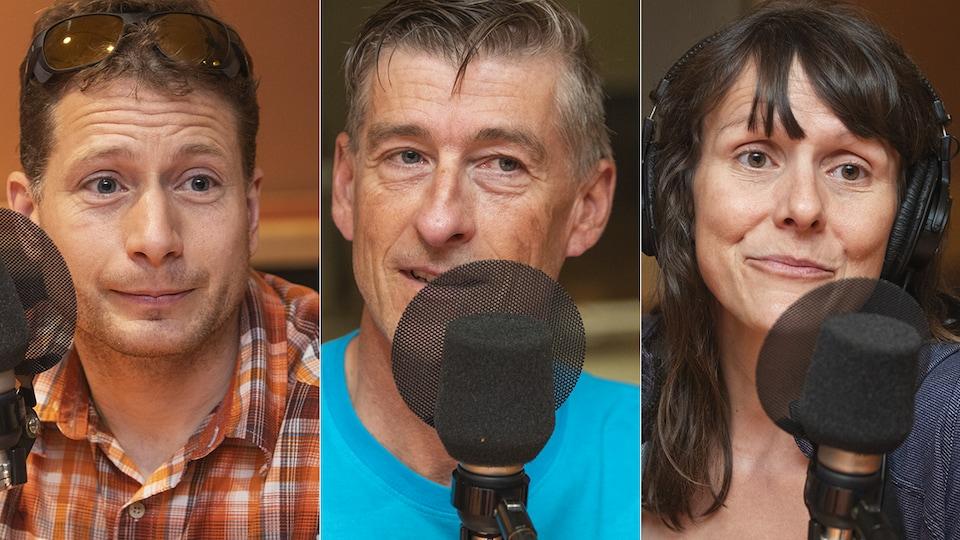 Frédéric Dion, Gabriel Filippi et Mylène Paquette au micro de Stéphan Bureau.