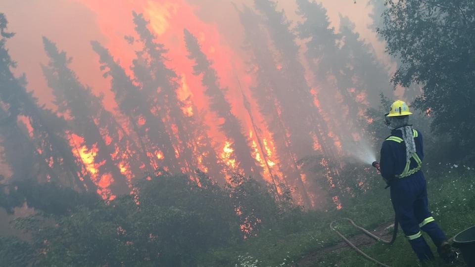Un pompier tente d'éteindre des flammes dans une forêt.