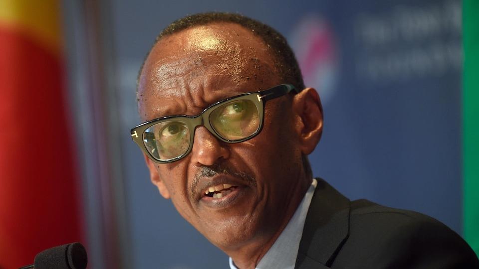 Le président rwandais Paul Kagame durant une allocution lors d'un forum au Nigeria, en 2019.