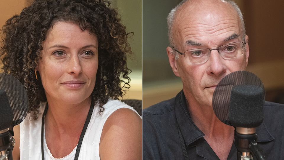 Ariane Paré Le Gal et Gérald Le Gal au micro de Stéphan Bureau.
