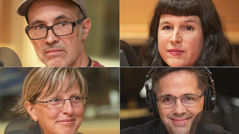 Jean-François Fortier, Marie-Josée Forest, Sarah Richer et Denis Fortier au micro de Stéphan Bureau.