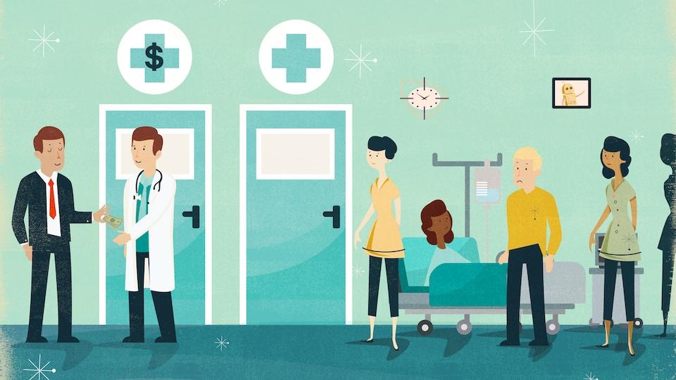 Illustration montrant la file dans une urgence d'hôpital. Un homme bien habillé paye le médecin pour aller plus vite.
