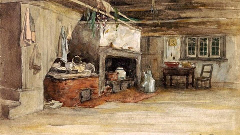 Une toile représente l'intérieur d'une maison canadienne de 1886.