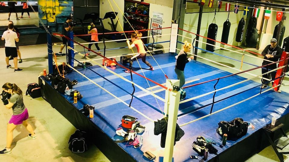 Des boxeurs à l'entraînement