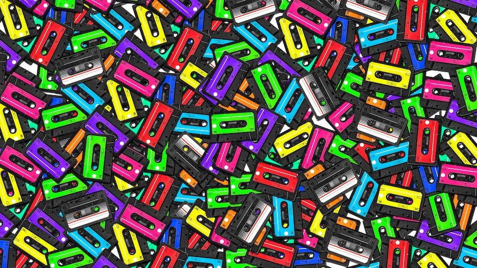 Tapisserie colorée de nombreuses cassettes