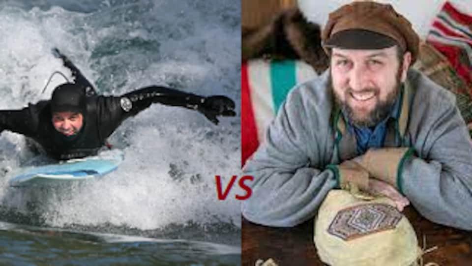 Le surfeur de rivière albertain David Rousseau et le voyageurs manitobai Rob Malo.