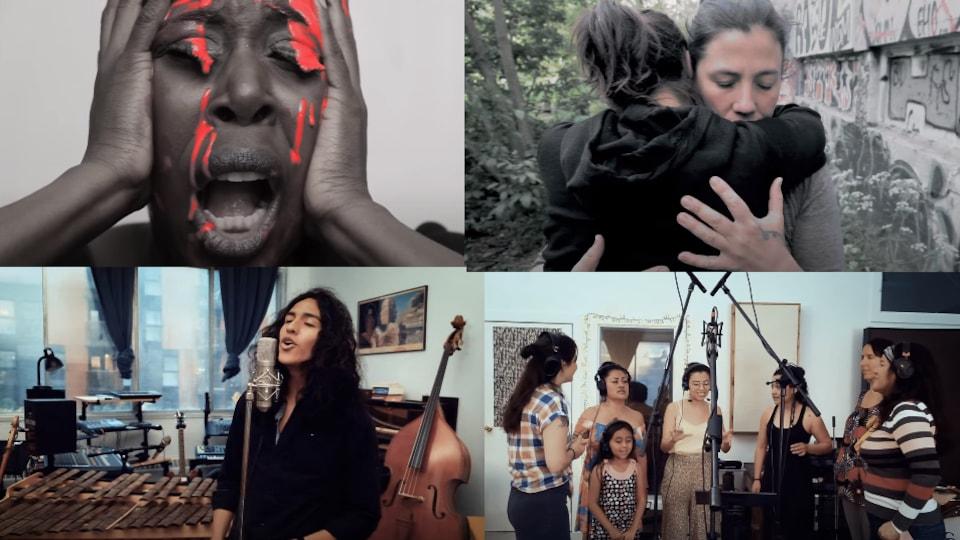 Des images du vidéo-clip EL GRITO du Collectif El Grito Colombia-Montréal.