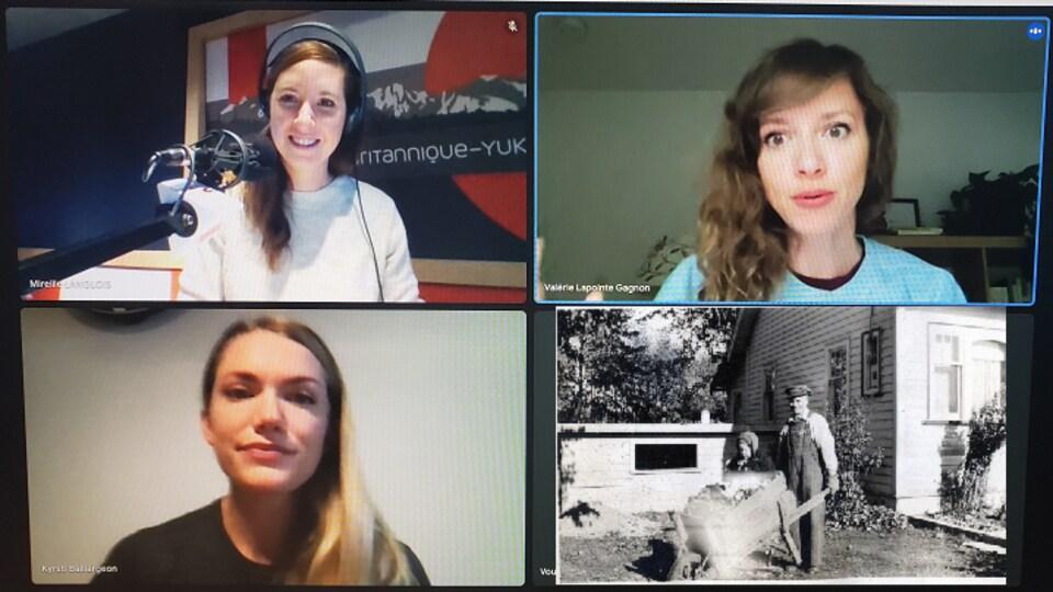 Mireille Langlois, Valérie Lapointe Gagnon et Kyrsti Baillargeon dans une capture d'écran de visioconférence.