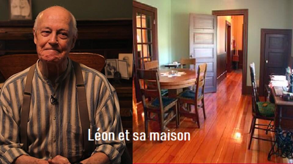 L'acteur du monologue 'Léon et sa maison' Alphonse Tétrault dans la maison Gabrielle Roy.