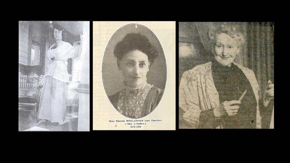 Trois pionnières du journalisme franco en Alberta: Magali Michelet (Magali), Blanche Boulanger (Dan l'Ombre) et Emma Morrier,(Madrina).