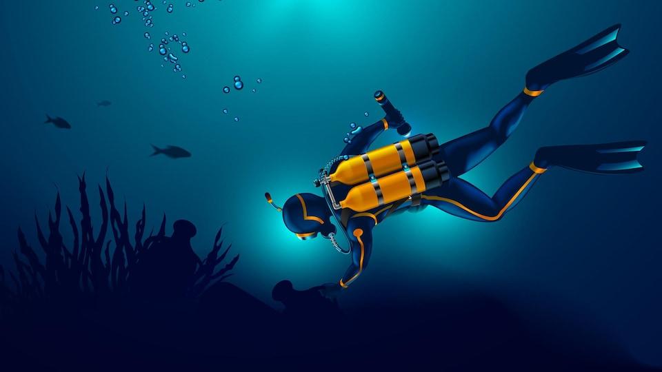 Une illustration montre une archéologue subaquatique dans le fond d'une mer.