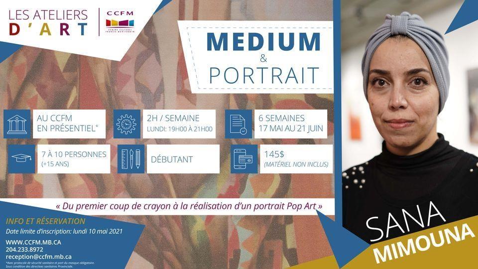L'affiche des ateliers d'art proposés par Sana Mimouna au CCFM de Winnipeg.