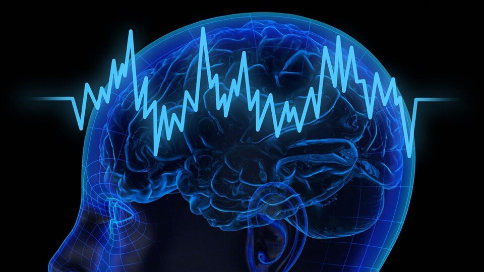 Représentation d'un cerveau traversé par des vagues ondulatoires