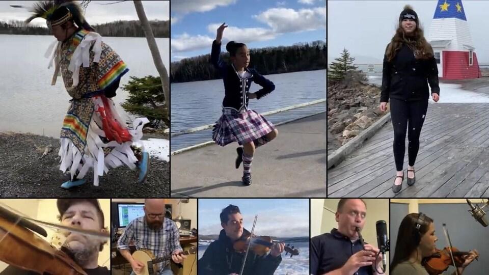 Différents écrans avec des artistes qui dansent et jouent de la musique.