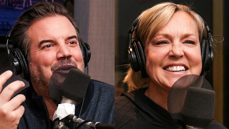 Les deux personnes sont souriantes avec des casques de son, dans un studio de radio.