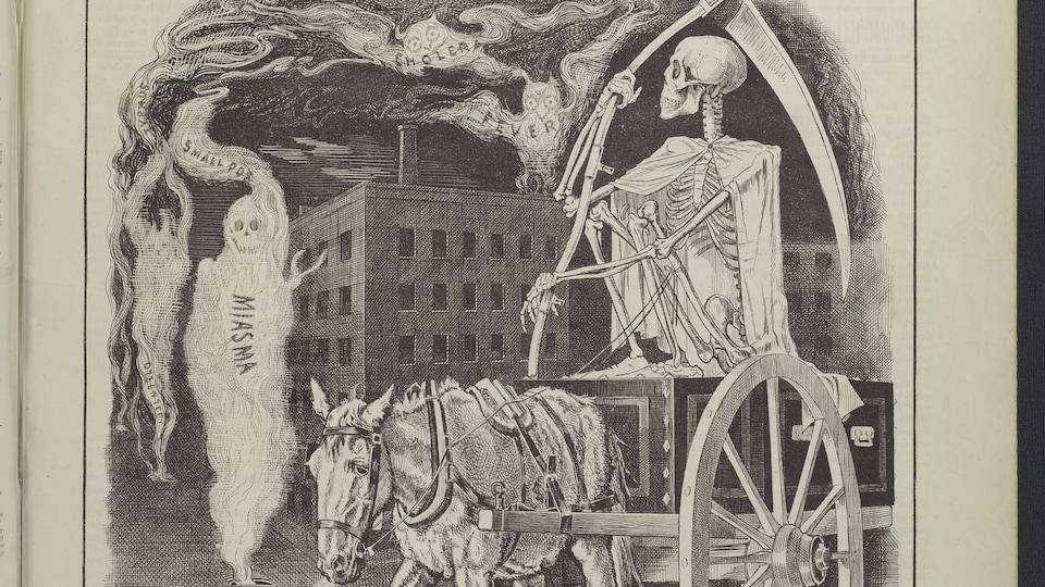 Une image en noir et blanc montrant un squelette tenant une faux monté sur un chariot tiré par un cheval devant des fantômes portant le nom de différentes maladies.