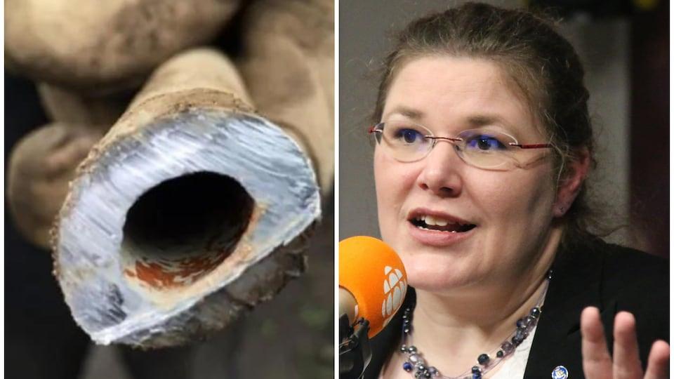 Photomontage avec d'un côté un tuyau de plomb et de l'autre une femme qui parle au micro.