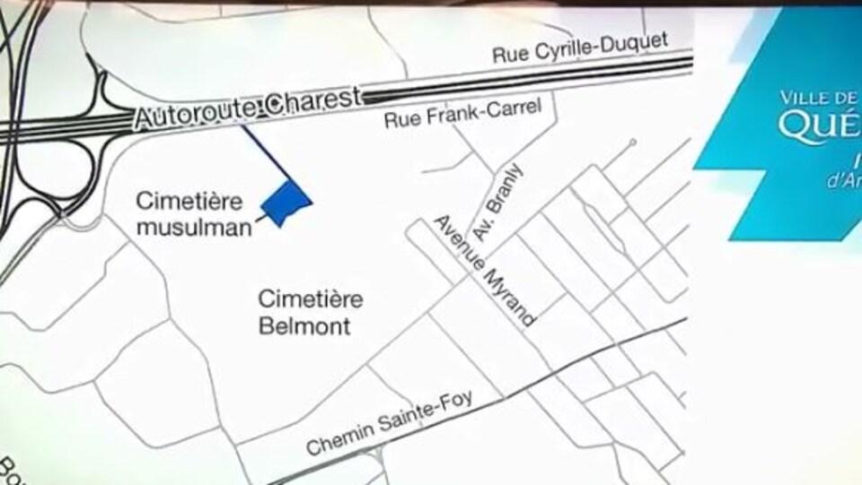 Plan de l'emplacement du cimetière musulman