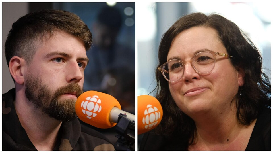 Thomas Fréchette et Amélie Bédard au micro.