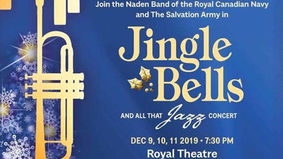Affiche bleu qui annonce le concert de Noël du Naden Band de l'année 2019 au Royal Theatre le 9 et 10 décembre 2019.