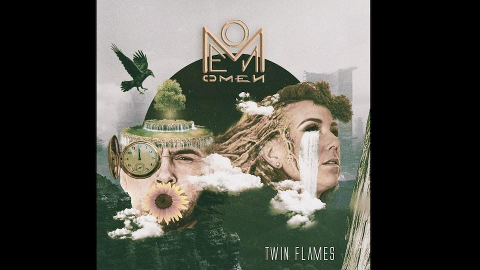 La pochette de l'album OMEN du groupe Twin Flames.