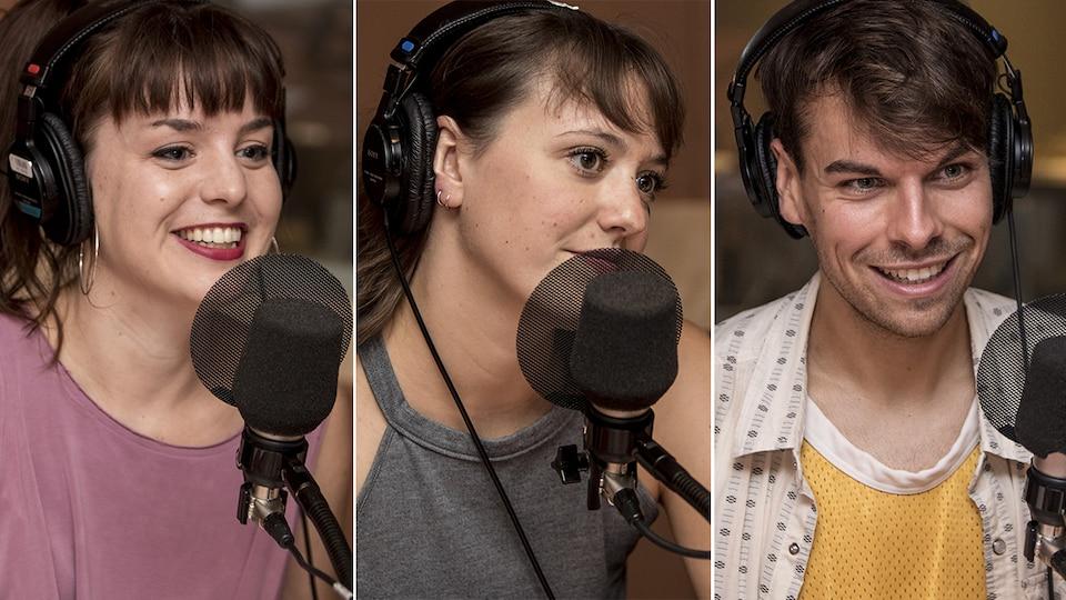 Les trois sourient au micro.