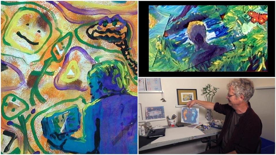 Un homme et ses oeuvres d'art