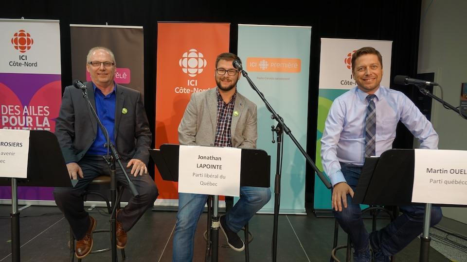 De gauche à droite : André Desrosiers de la Coalition avenir Québec, Jonathan Lapointe du Parti libéral du Québec et Martin Ouellet du Parti québécois