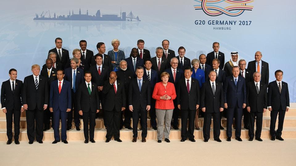 Les dirigeants du G20 réunis à Hambourg, en Allemagne, où se déroule le sommet.