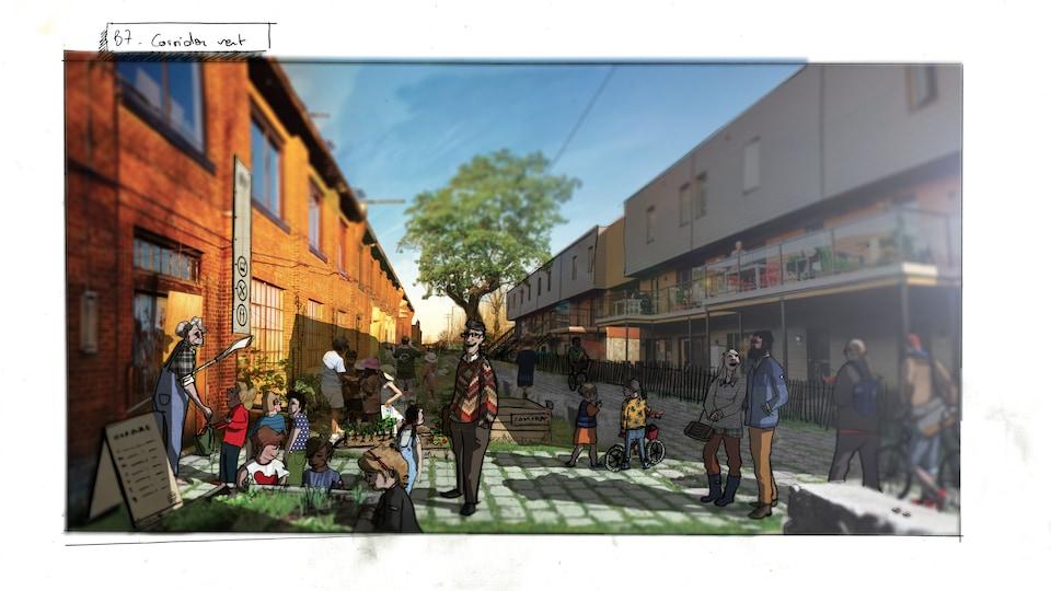 Maquette du projet des Ateliers 7 à Nous, dans le Bâtiment 7 dans le quartier Pointe-Saint-Charles.