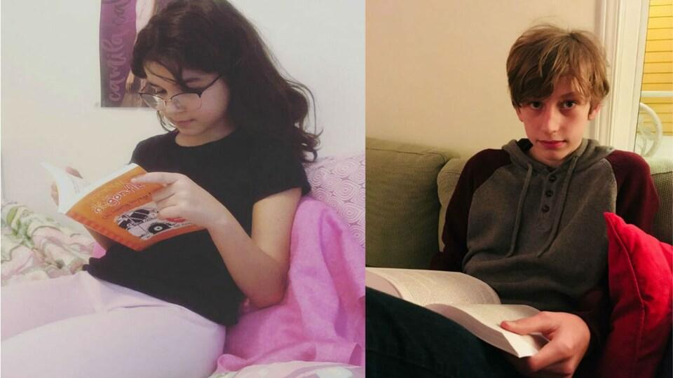 Une jeune fille et un jeun garçon avec un livre chaque