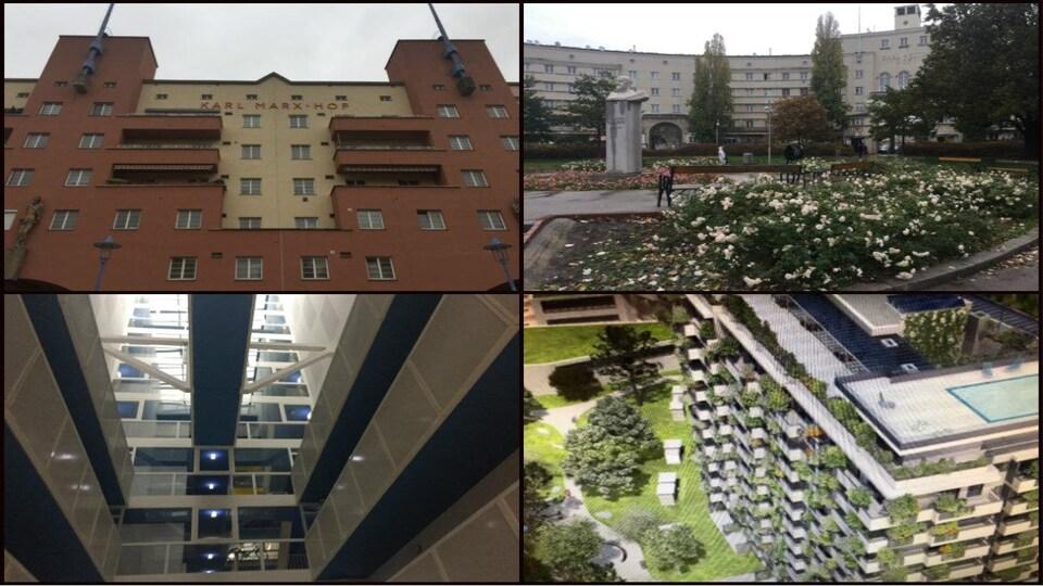 Quatre photos d'immeubles à logements sociaux à Vienne. Deux immeubles plus ancien et deux autres plus modernes