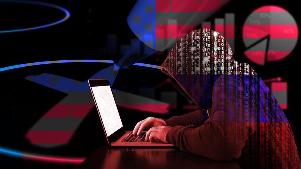 Un hacker russe vêtu d'un chandail binaire, tapant sur un ordinateur sur fond de diagramme au couleur du drapeau américain.