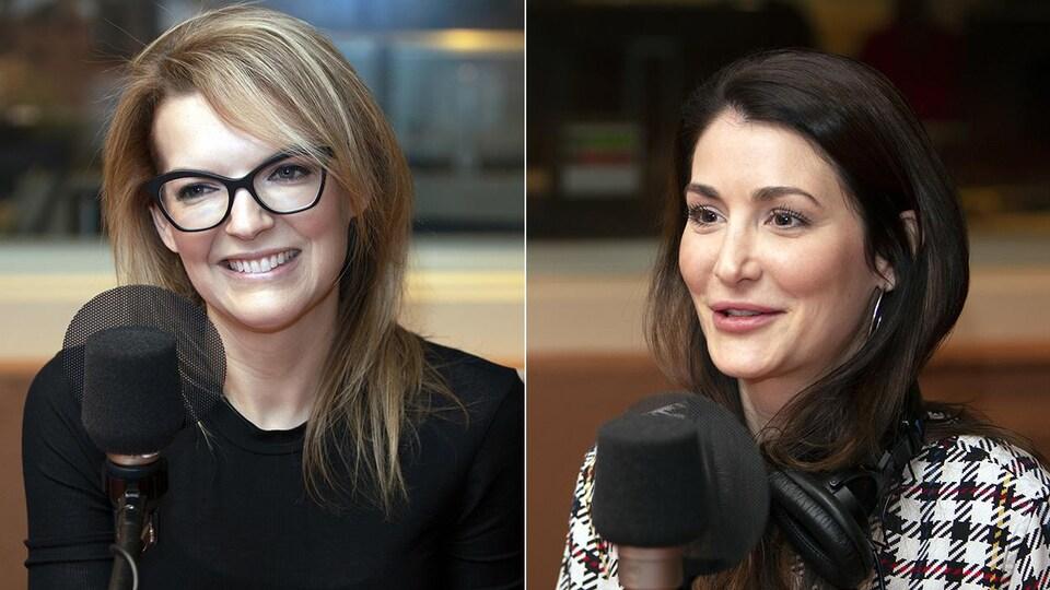 Deux femmes sont dans un studio de radio. La première sourit, l'autre parle.