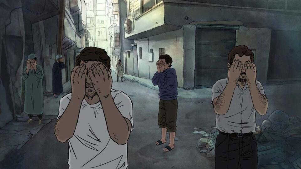 Extrait du film. Portion bande dessinée exprimant des gens se couvrant les yeux pour manifester leur silence.