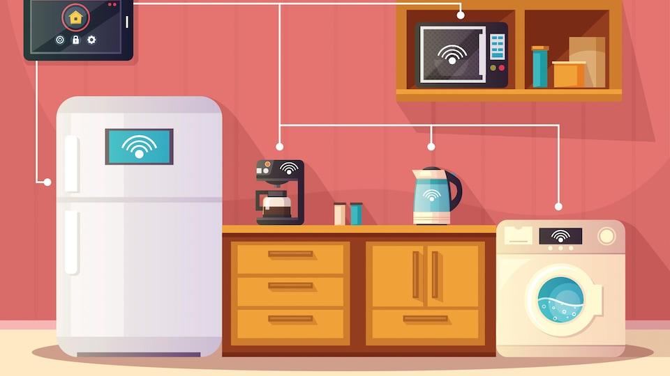 illustration très colorée d'objets de la vie courante qui peuvent être connectés.