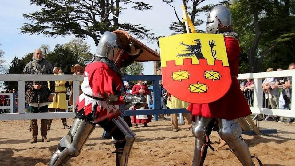 Deux personnes en armures qui se battent à l'extérieur avec épées et boucliers