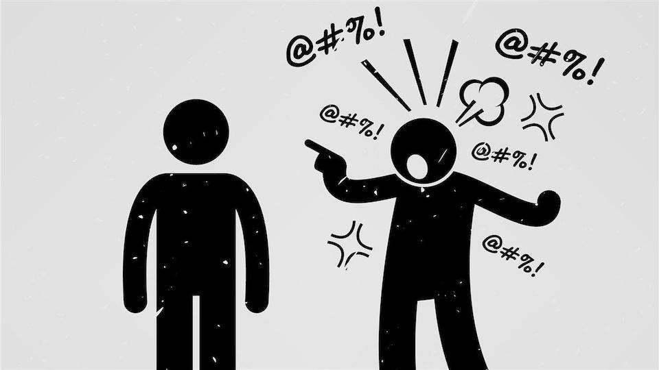 Dessin de deux bonhommes dont un entouré de symbole symbolisant des paroles verbales