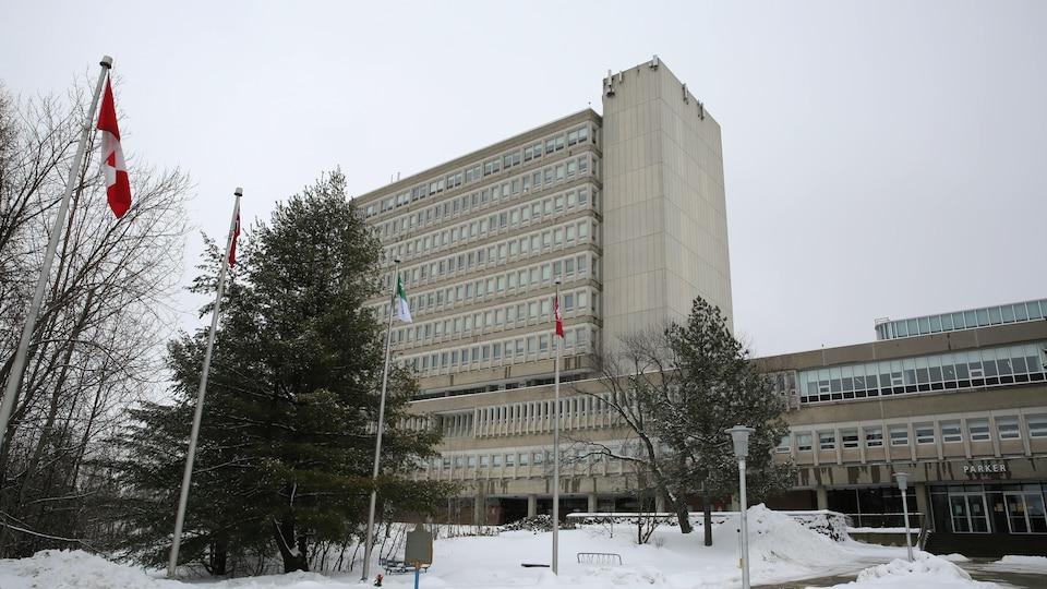 Une rangée de drapeau devant l'un des pavillons de l'Université Laurentienne