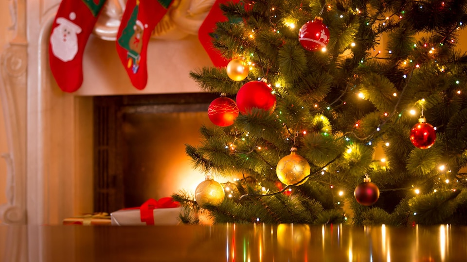 Un sapin de Noël décoré.