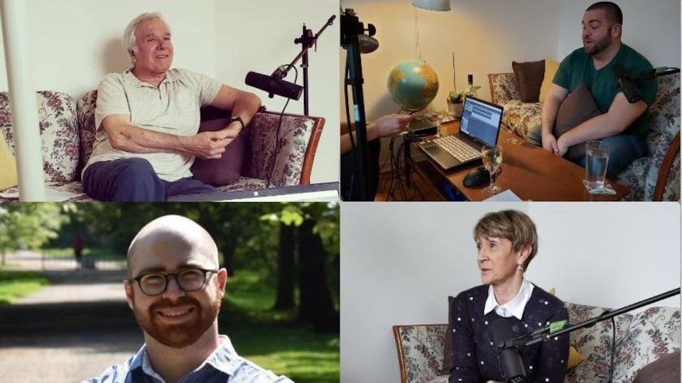 Portraits des quatre auteurs des éditions L'Interligne : Gilles Dubois, Daniel Groleau Landry, Charles Étienne Ferland et Hélène Koscielniak